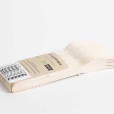 Puidust biolagunevad kahvlid, 25tk pakis